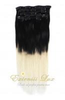 Extensii Clip-On OMBRE Negru Intens - Blond Platinat cu cleme medii din metal