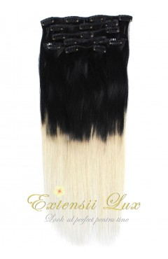 Extensii Clip-On OMBRE Negru Intens - Blond Platinat