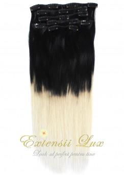 Extensii Clip-On OMBRE Negru Intens - Blond Platinat