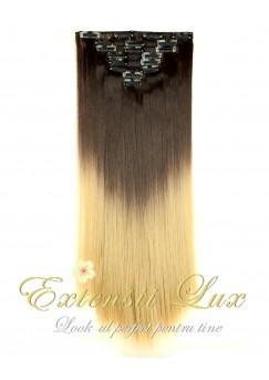 Extensii Clip-On OMBRE Saten Inchis/Blond Deschis