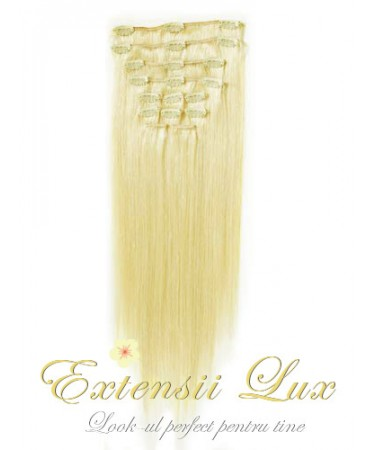 Extensii par Clip-on Blond Deschis #60 din par 100% natural