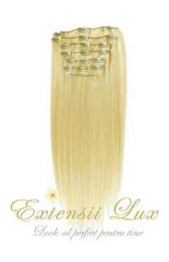Extensii par Clip-on Blond Platinat #613