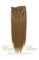 Extensii din par natural Clip-on Saten Deschis #8