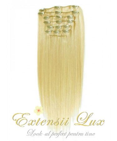 Extensii DeLuxe Clip-on Blond Platinat #613