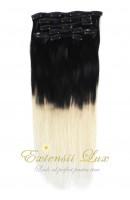 Extensii de par DELUXE Clip-On OMBRE Negru Intens/Blond Platinat