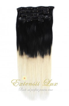 DELUXE Clip-On OMBRE Negru Intens/Blond Platinat