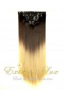 Extensii de par DELUXE Clip-On OMBRE Saten Inchis/Blond Deschis
