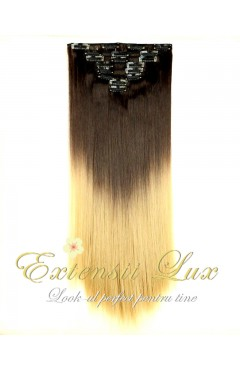 DELUXE Clip-On OMBRE Saten Inchis/Blond Deschis