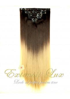 DELUXE Clip-On OMBRE Saten Inchis/Blond Deschis