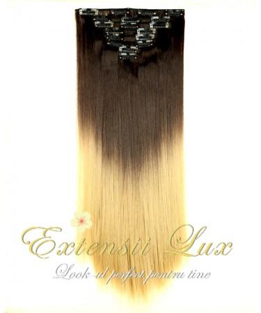 Extensii DELUXE Clip-On OMBRE Saten Inchis/Blond Deschis