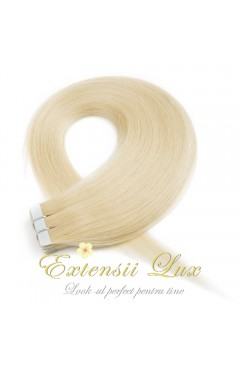 Extensii Tape-In DELUXE Blond Platinat #613